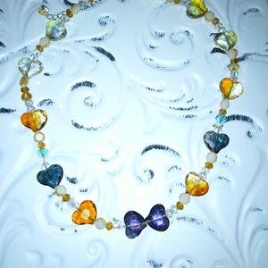 Glass heart cut necklace